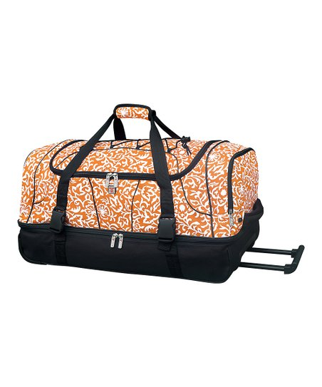 Orange Floral Wheeled Duffel