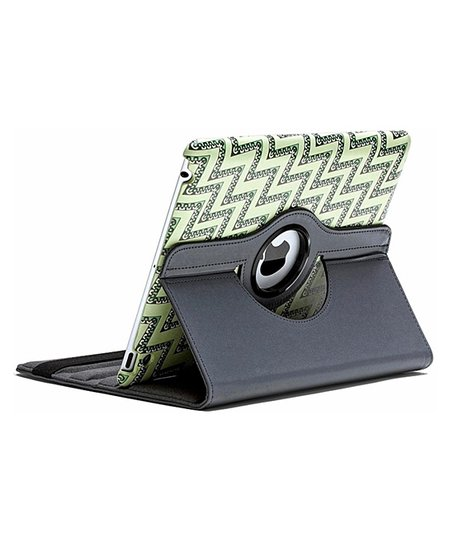 Black & Green Zigzag Rotating Case for iPad 2/3/4