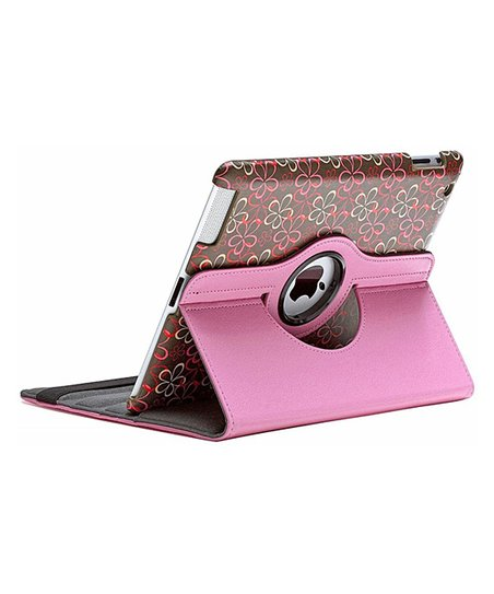 Pink Floral Rotating Case for iPad 2/3/4