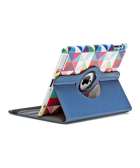 Blue Triangles Rotating Case for iPad 2/3/4
