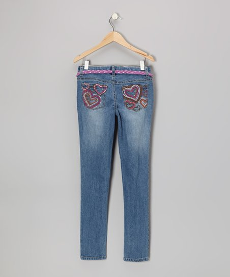 Medium Stone Wash & Pink Heart Skinny Jeans