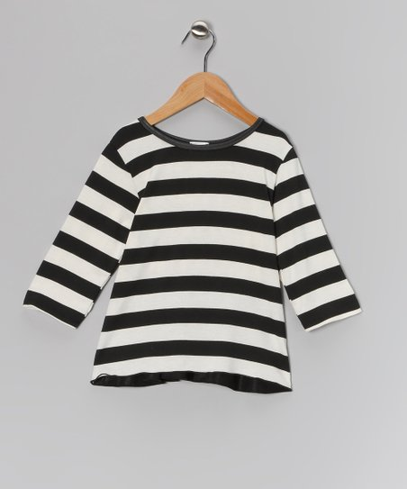 Black & White Stripe Ruffle Top