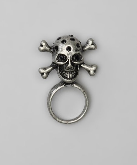 Burnished Silver & Black Rhinestone Skull Ring