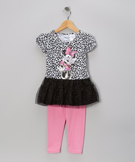 Black & Pink Minnie Skirted Top & Leggings - Infant & Girls