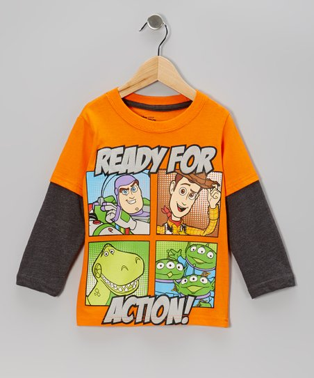 Orange 'Ready for Action' Layered Tee - Toddler