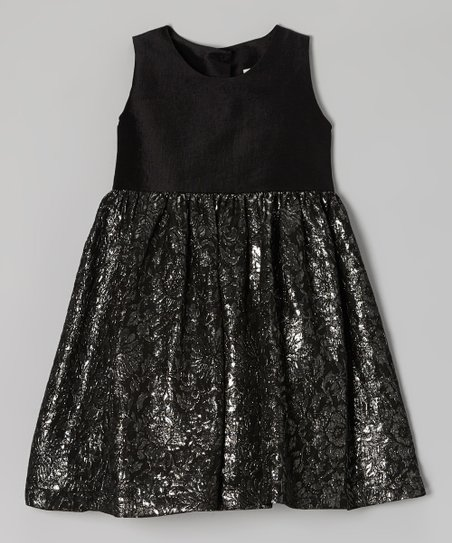 Black & Silver Silk Brocade Dress - Toddler & Girls