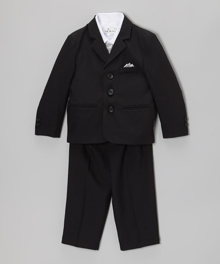 Black & Silver Five-Piece Suit Set - Infant, Toddler & Boys