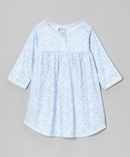 Blue Sara Button Nightgown - Toddler & Girls