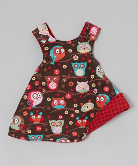 Red & Brown Owl Reversible A-Line Dress - Infant, Toddler & Girls