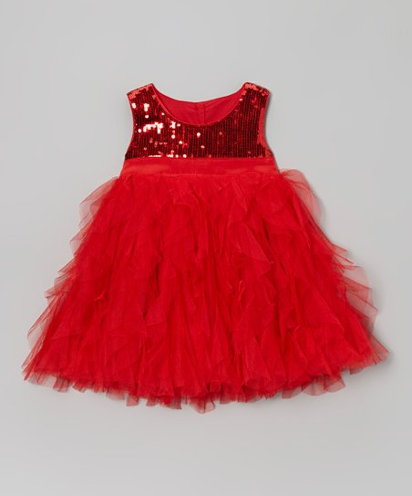 Red Sequin Tulle Dress - Infant, Toddler & Girls