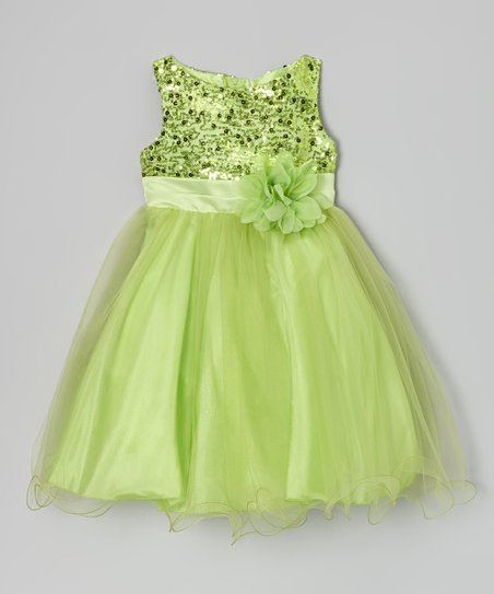 Green Sequin Tulle A-Line Dress - Infant, Toddler & Girls