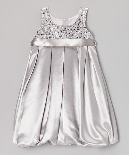 Silver Sequin Bubble Dress - Toddler & Girls