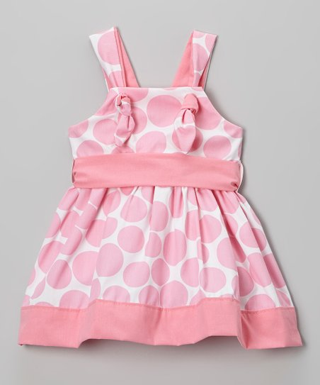 Pink & White Polka Dot Sash Dress - Toddler & Girls
