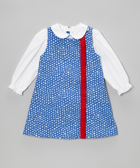 White Blouse & Royal Polka Dot Jumper - Toddler & Girls