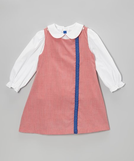 White Top & Red Gingham Jumper - Toddler & Girls
