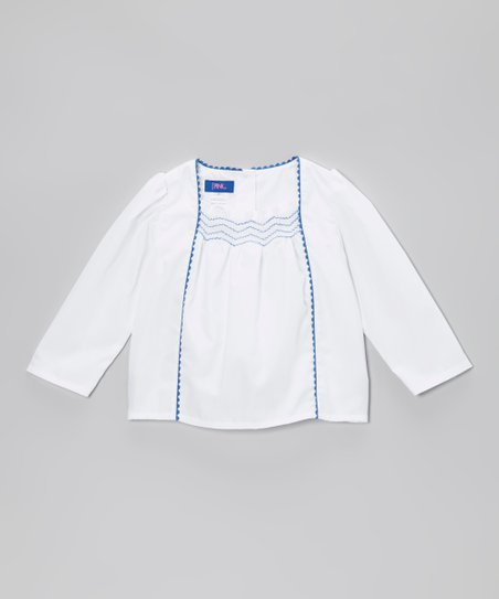 White & Royal Rickrack Peasant Blouse - Toddler & Girls