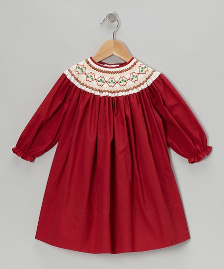 Red Holly Leaves Long-Sleeve Bishop Dress - Toddler & Girls