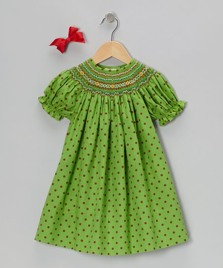 Green Short-Sleeve Bishop Dress & Red Bow Clip - Toddler