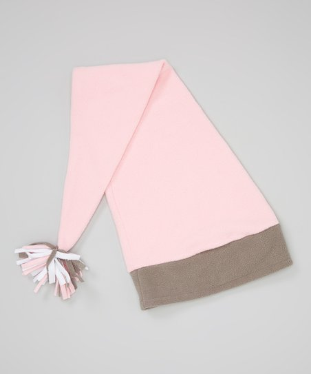 Light Pink & Gray Fleece Elf Hat