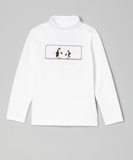 White & Black Penguin Smocked Turtleneck - Infant