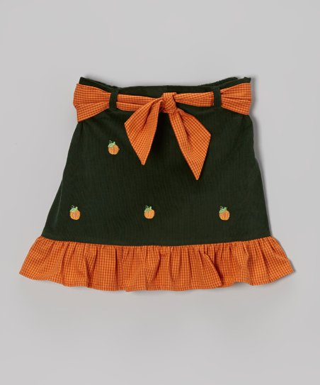 Dark Green Pumpkin Ruffle Skirt - Toddler & Girls
