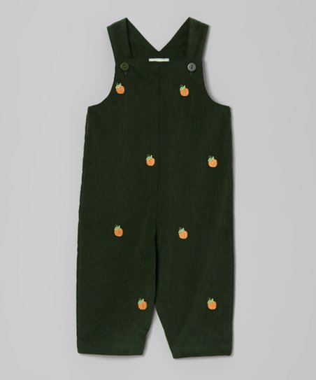 Dark Green Pumpkin Overalls - Infant & Toddler