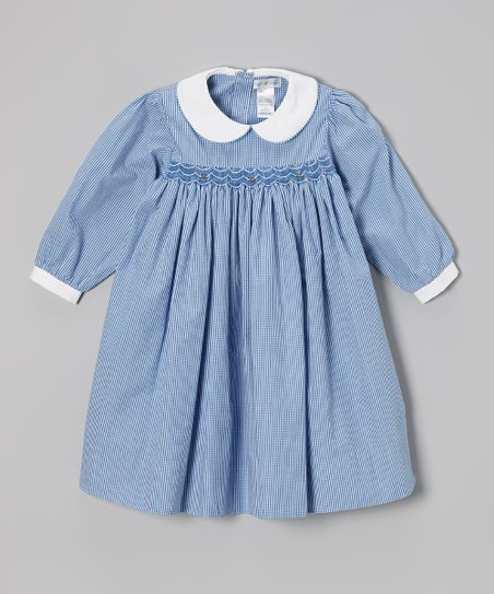 Royal Blue Gingham Smocked Dress - Infant, Toddler & Girls