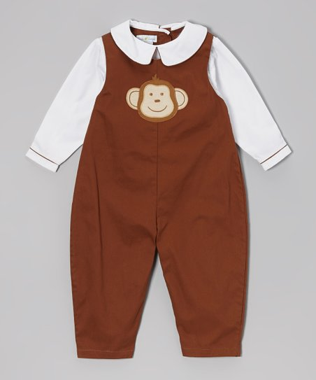 White & Brown Monkey Layered Playsuit - Infant