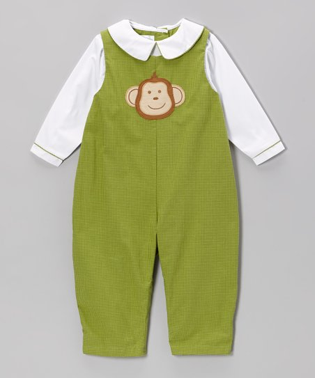 White & Green Gingham Monkey Layered Playsuit - Infant