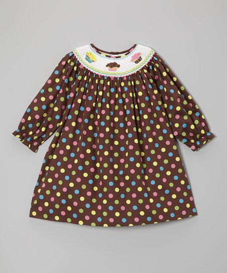 Brown Polka Dot Cupcake Bishop Dress - Toddler