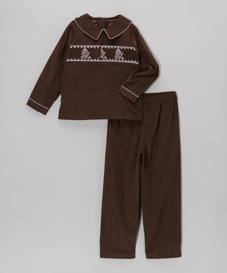 Brown Whimsical Tree Corduroy Top & Pants – Toddler & Boys