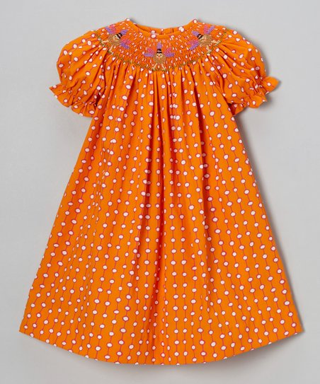 Orange Dot Turkey Bishop Dress - Infant, Toddler & Girls