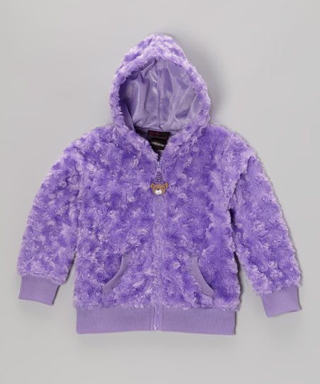 Purple Faux Fur Zip-Up Hoodie - Infant, Toddler & Girls