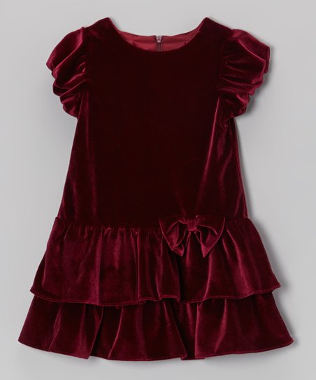 Burgundy Tiered Velvet Dress - Infant & Toddler