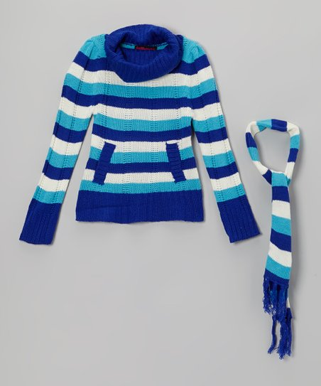 Blue Stripe Turtleneck Sweater & Scarf - Girls