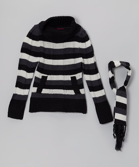 Black Stripe Turtleneck Sweater & Scarf - Girls