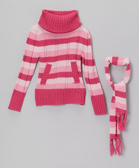 Pink Stripe Turtleneck Sweater & Scarf - Girls