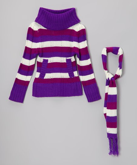 Purple Stripe Turtleneck Sweater & Scarf - Girls
