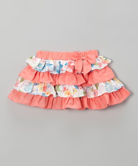Orange Floral Ruffle Tiered Skirt - Toddler & Girls