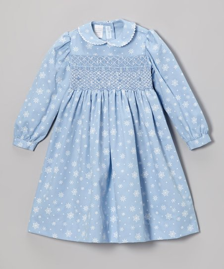 Sky Blue Snowflake Smocked Dress - Infant, Toddler & Girls