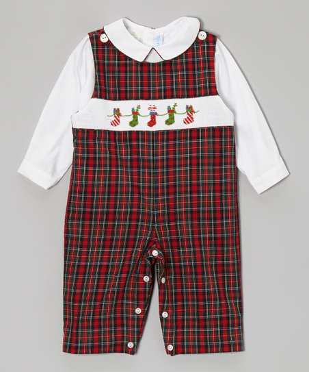 White Top & Red Plaid Stocking Overalls - Infant & Toddler