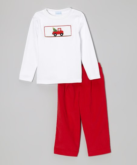 White Tee & Red Pick-Up Truck Pants - Infant