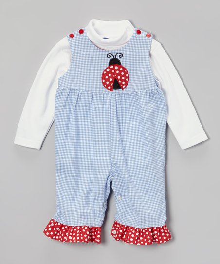 White Turtleneck & Blue Gingham Ladybug Overalls - Infant