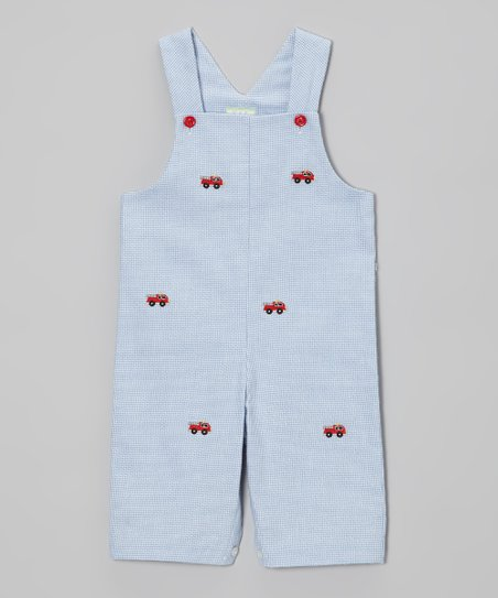Light Blue Fire Truck Overalls - Infant & Toddler