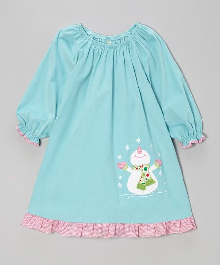 Teal Blue Snowman Ruffle Dress - Toddler & Girls