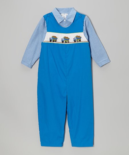Blue Button-Up & Royal Dump Truck Overalls - Toddler