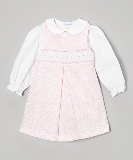 Pink Floral Smocked Jumper & White Top - Infant, Toddler & Girls