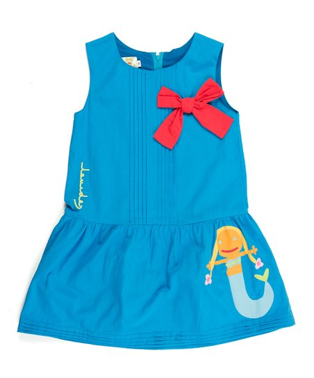 Turquoise Mermaid Pleated Bow Dress - Infant, Toddler & Girls
