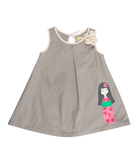 Gray Cherry Blossom Swing Dress - Infant, Toddler & Girls