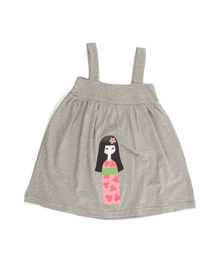 Gray Cherry Blossom Babydoll Dress - Toddler & Girls